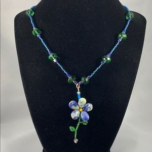 Blue & white petal flower pendant w/ glass accents